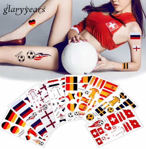 2018 Word Cup Football Games Tattoo Sticker Flag Germany Russia Temporary DIY Body Tattoo