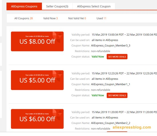All AliExpress Voucher & Promo Codes for October 12222