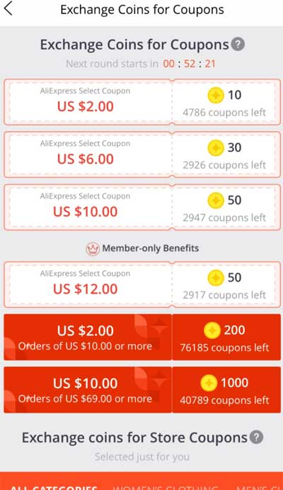 Exchange Coins for Coupons
