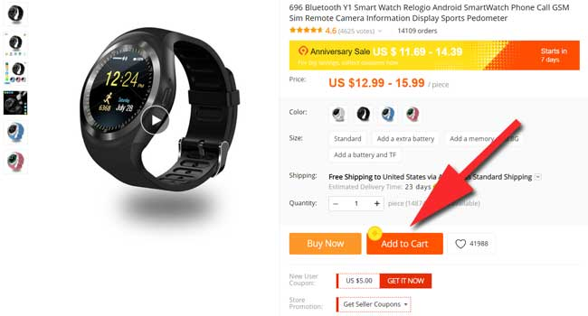 add items to your cart Anniversary Aliexpress