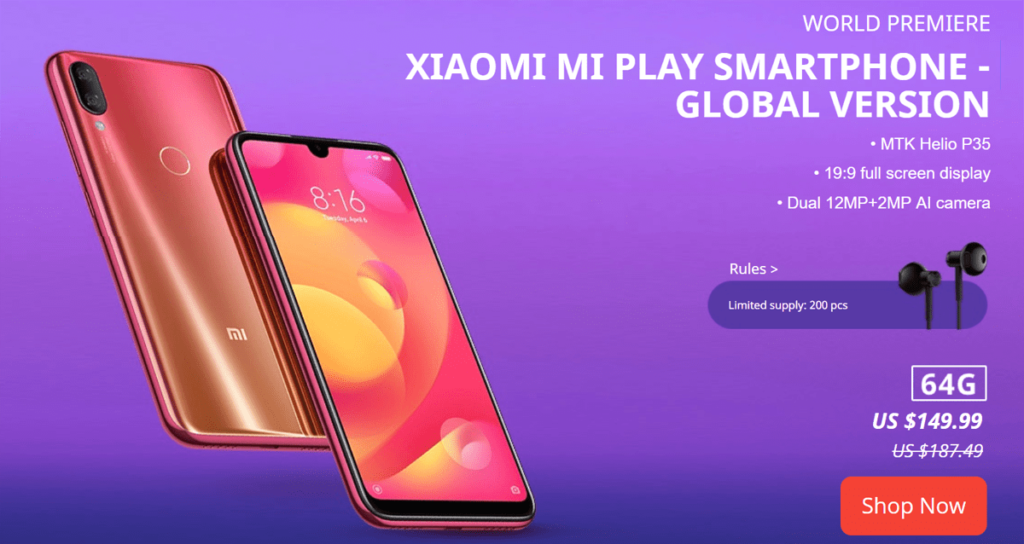 Global Version Xiaomi Mi Play Sale