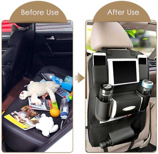 1PC PU Leather Car Seat Back Storage Hang Bag Multi-functional IPad Mini Holder Universal Back Seat Organizer for Kids Storage