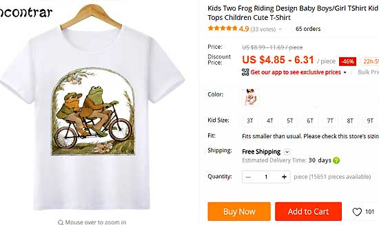 Kids Two Frog Riding Design Baby Boys/Girl TShirt Kids Funny Short Sleeve Tops Children Cute T-Shirt