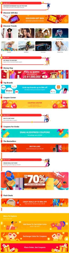 GLOBAL SHOPPING FESTIVAL big discounts aliexpress 11 11