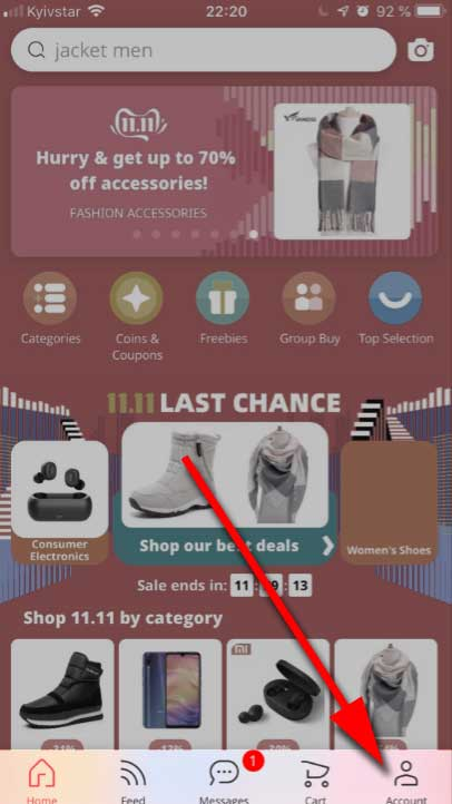 Tap the Account icon on AliExpress home page