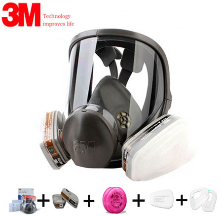 Authentic 7/9/17In1 3M 6800 Painting Spray Gas Mask Organic Vapors Safety Respirator Full Facepiece Protection Respirator AliExpress