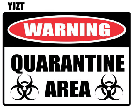 15*11.1cm Cartoon WARNING Sign QUARANTINE Retro-reflective Decals Car Sticker
