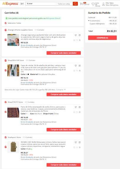 Carrinho Este pedido está elegível para envio grátis via AliExpress Direct!