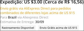 Para Brasil via Aliexpress Direct