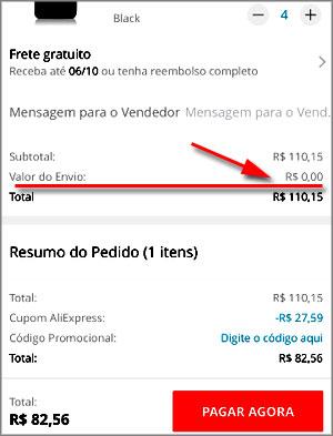 Valor do Envio R$ 0 AliExpress