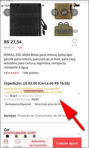 Envio grátis pro Brasil Aliexpress Direct Adicione os produtos ao carrinho.