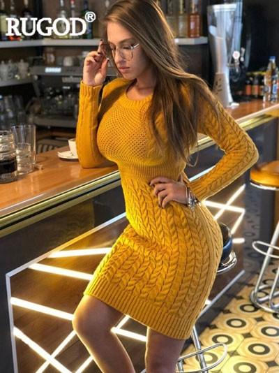 Autumn fall Winter knitted Sweater Dress