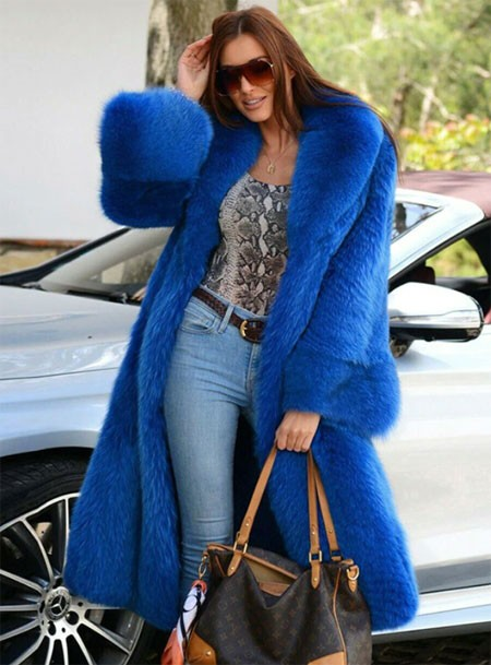 Plus Size Blue Fox Fur Coat With Big Lapel Collar Natural Real Fox Fur Jacket Warm Winter Overcoats
