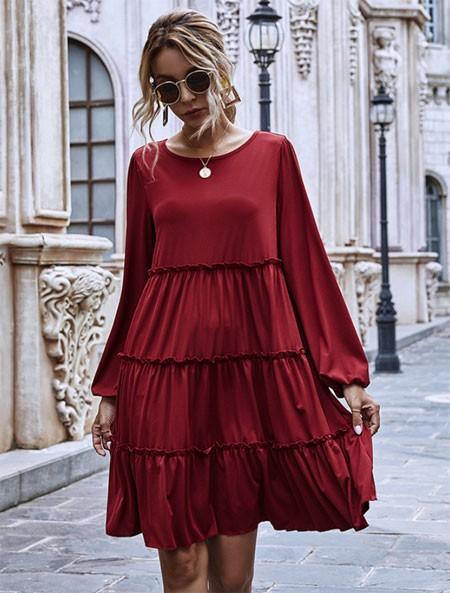 Cotton Ruffle Midi Dress
