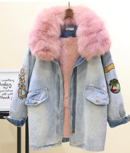 Denim jacket with fur lining on AliExpress,com