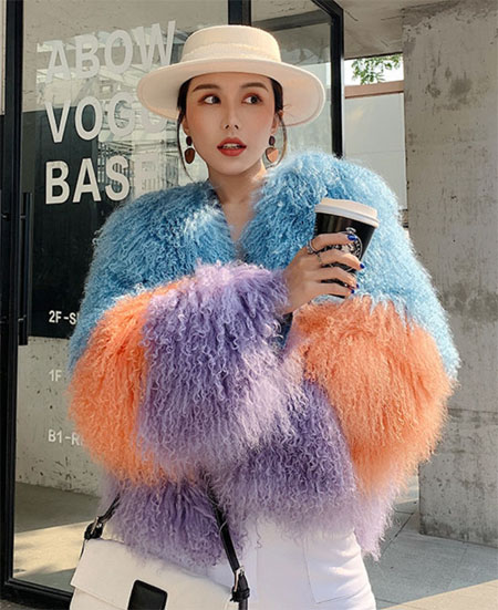 Real Lamb Fur Women Coats 2019 Winter Fashion Natural Mongolian Fur Outwear Fur Warm Full Sleeve Jacket