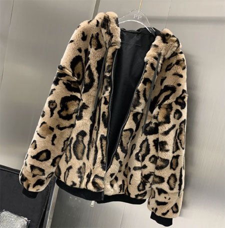 New Women Winter Warm Soft Real Rex Rabbit Fur Hooded Coat Sexy Leopard Print Rex Rabbit Fur Short Jacket