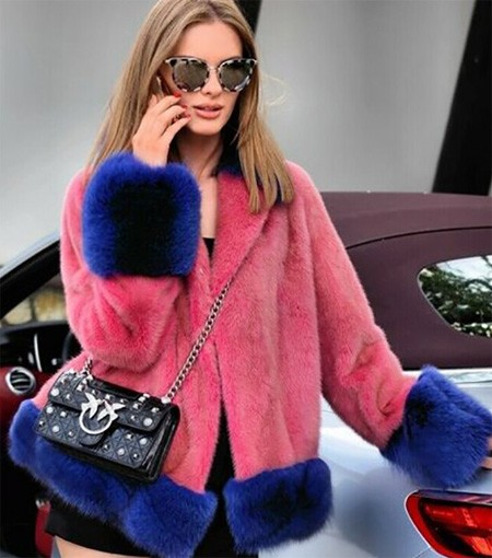 Fashion Short Mink Fur Jacket With Fox Fur Cuff