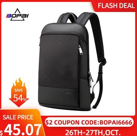 Slim Laptop Backpack Men 15.6 Inch Office Work Women Backpack Business Bag Unisex Black Ultralight Backpack Thin Back Pack