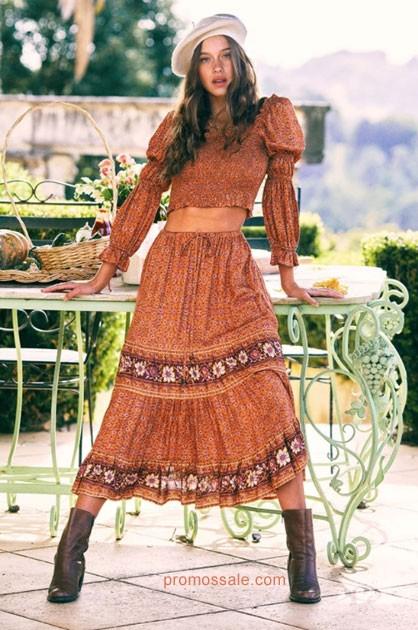 boho women Vintage Floral print Woman Fall Winter Dresses 2020 AliExpress