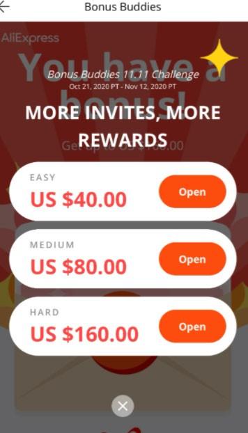 Bonus Buddies 11.11 Challenge | Get US $160 everyday on AliExpress