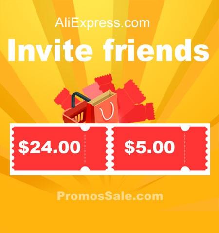 AliExpress Invite Friends $24 / $5