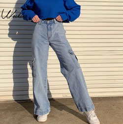 Womens Jeans With Patchwork Pockets High Waist Denim