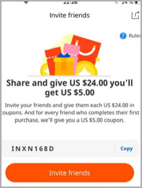 Share and give US $24.00 you'll get US $5.00 Aliexpress