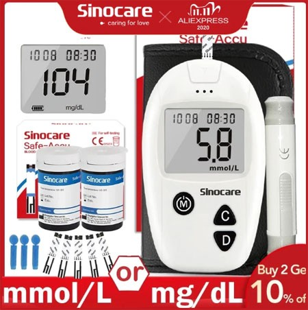 Sinocare Safe-Accu Blood Glucose Meter Glucometer Kit Diabetes Tester 50/100 Test Strips Lancets Medical Blood Sugar Meter Aliexpress 11.11 sale