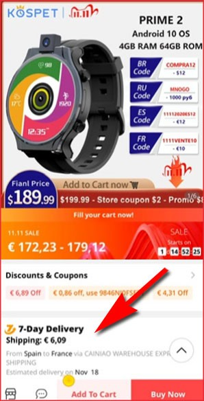 Aliexpress Shipping from on your mobile phone