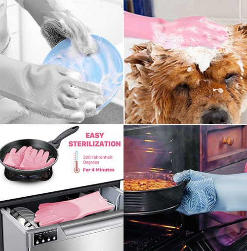 Reusable Silicone Dishwashing Gloves.