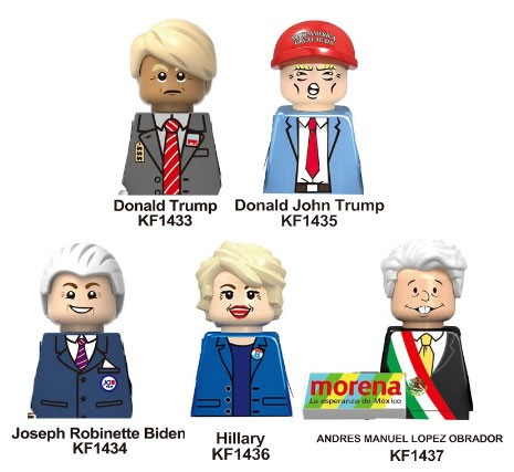 New Famous People Mexico USA President Trumppes Joseph Robinette Biden Mini Blocks Action Figures Head Kids Toy